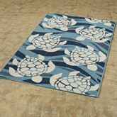 Swimming Sea Turtles Rectangle Rug Blue