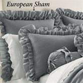 Emily Alloy Ruffled Sham Light Gray European
