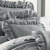 Emily Alloy Ruffled Accent Pillow Light Gray 20 Square