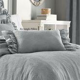 Emily Alloy Ruffled Pillow Light Gray Rectangle