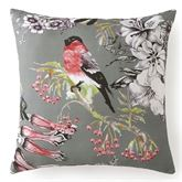 Calantha Bird and Floral Tailored Pillow Dark Gray 18 Square