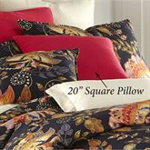 Midnight Bloom Solid Color Pillow Red 20 Square