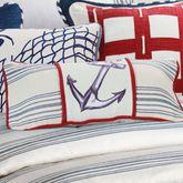 Liberty Embroidered Anchor Pillow Indigo Rectangle
