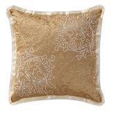 Ansonia Embroidered Flanged Pillow Tan 16 Square