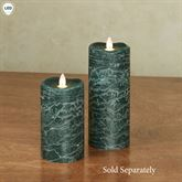 Distressed Flameless LED Pillar Candle Green