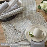 Tweed Basics Placemats Ivory/Blue Set of Four