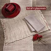 Tweed Basics Placemats Ivory/Red Set of Four