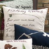 Gibson Lake Fishing Rules Embroidered Pillow Multi Warm 16 Square