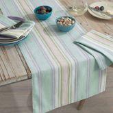 French Perle Stripe Table Runner Celadon