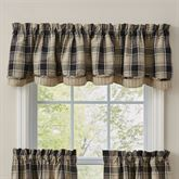 Soapstone Plaid Scalloped Valance Black 72 x 16