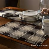 Soapstone Plaid Placemats Black Set of Four