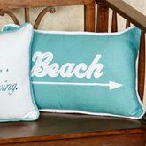 Beach Arrow Decorative Pillow Turquoise Rectangle