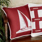 Nautical Sailboat Decorative Pillow Red 18 Square