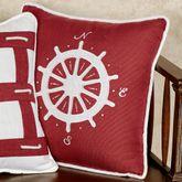 Nautical Compass Decorative Pillow Red 18 Square