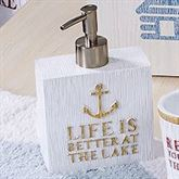 Lake Words Lotion Soap Dispenser Ivory