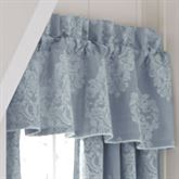 Ansonia Damask Tailored Window Valance Denim 88 x 15