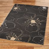 Picturesque Floral Rectangle Rug Dark Gray