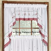 Floral Gingham Swag Valance Pair 60 x 38