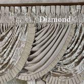 Bellamy Diamond Waterfall Valance Silver Gray 49 x 33