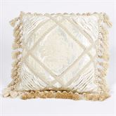 Estate Fringed Pintuck Pillow Ivory 18 Square