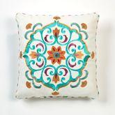 Cote d Azur Embroidered Pillow Light Cream 18 Square
