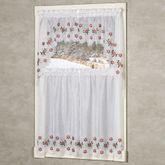 Poinsettia Semi Sheer Tier and Valance Set White 56 x 36