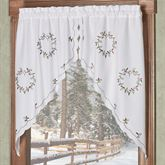 Holly Wreath Swag Valance Pair White 56 x 38