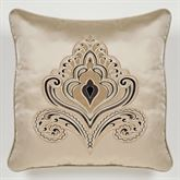 Grandeur Embroidered Pillow Golden Beige 18 Square