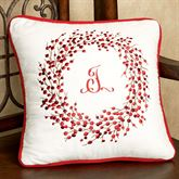Berry Wreath Embroidered Pillow Eggshell 16 Square