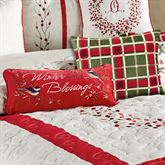 Berry Wreath Winter Blessings Pillow Red Rectangle