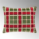 Berry Wreath Plaid Pillow Green Rectangle