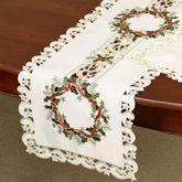 Holiday Wreath Long Table Runner Cream