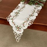 Boughs of Holly Long Table Runner Cream