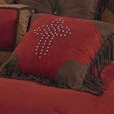 Red Rodeo Cross Piped Square Pillow Dark Red 18 Square