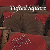 Red Rodeo Button Tufted Square Pillow Dark Red 18 Square
