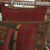 Cascade Lodge Plaid Piped European Sham Brown