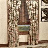 Bali Palm Tailored Curtain Pair with Tiebacks Beige 82 x 84