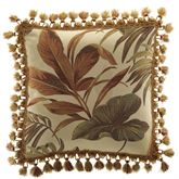 Bali Palm Tasseled Square Pillow Beige 18 Square