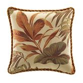 Bali Palm Piped Square Pillow Beige 18 Square