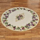 Grape Scroll Round Rug Ivory