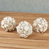 Shell Decorative Orbs Antique Ivory Set of Three