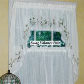 Garden Path Swag Valance Pair White 56 x 38