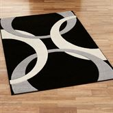 Corfu Contemporary Rectangle Rug Black