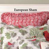 Winter Bird Snowflake Ruffled Sham Red European