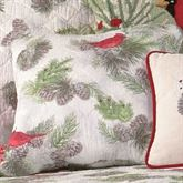 Winter Bird Quilted Pillow White 14 Square