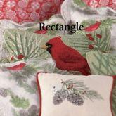 Winter Bird Cardinal Hooked Pillow Light Green Rectangle