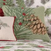 Winter Bird Pine Cone Hooked Pillow Light Green 16 Square