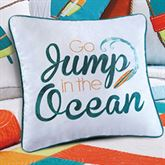 Zuma Bay Embroidered Words Pillow White 16 Square
