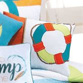 Zuma Bay Embroidered Life Preserver Pillow White Rectangle