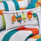 Zuma Bay Embroidered Buoys Pillow White Rectangle